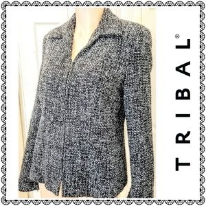 {Tribal} tweed wool blend jacket, zippered, sz 6